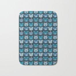 Cute Bear Faces Pattern Bath Mat