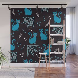 Halloween cats blue party Wall Mural