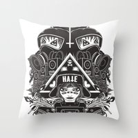 gore Throw Pillows featuring hard gore by Andrea Moresco