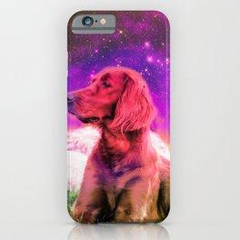 Cute Irish Setter Dog In Space iPhone Case