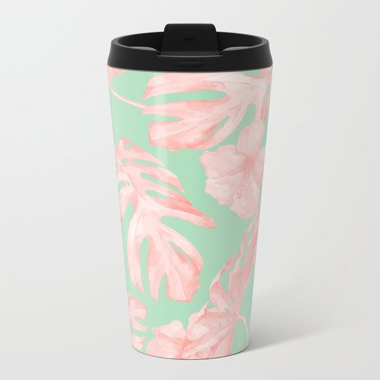 Tropical Palm Leaves Hibiscus Pink Mint Green Metal Travel Mug