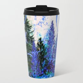 ORNATE BLUE-GREY WINTER SNOWFLAKES FOREST ART Travel Mug