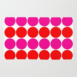 Luxury colored dots pink red on white 70s look Rug