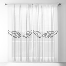 White Wings Outline Sheer Curtain