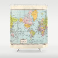map of the world Shower Curtains featuring World Map by Catherine Holcombe