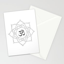 White Lotus Flower Om Symbol Drawing Stationery Cards