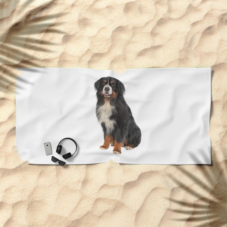 Bernese Mountain Dog Drawing Funny Dog Beach Towel