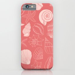 Seashells and Starfish Pattern in Coral Pink iPhone Case