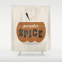 spice Shower Curtains featuring pumpkin spice by veep