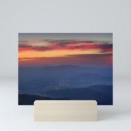 Red sunset from the mountains. Mini Art Print