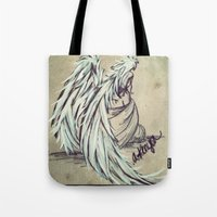 angel wings Tote Bags featuring Angel Wings by Buttercream Art
