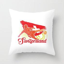 Football Worldcup Switzerland Swiss Soccer Team Sports Footballer Rugby Gift Throw Pillow