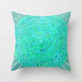 Turquoise Mandala Flower Throw Pillow