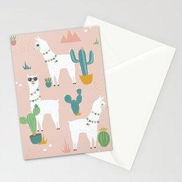 Summer Llamas on Pink Stationery Cards