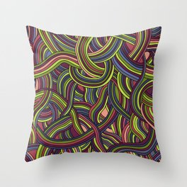 seamless pattern of tangled smooth strips Throw Pillow