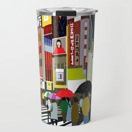 Umbrellas in Tokyo Rain Travel Mug