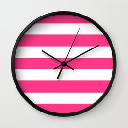 Barbie Pink (2004-2005) - solid color - white stripes pattern Wall Clock