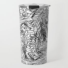 Black and White Feathers Travel Mug