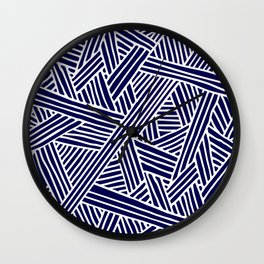 Abstract navy blue & white Lines and Triangles Pattern- Mix and Match with Simplicity of Life Wall Clock
