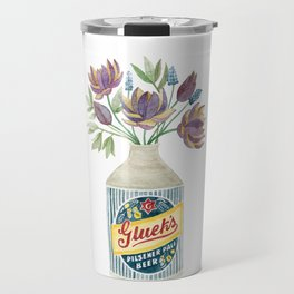 Flowers in a Vintage Beer Bottle Vase Travel Mug
