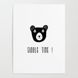 Cuddle time bear black and white illustration Poster