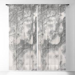 Marble Flow - Black & Cream Sheer Curtain