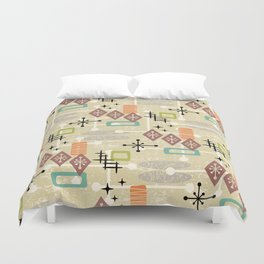 Retro Mid Century Modern Atomic Abstract Pattern 241 Duvet Cover
