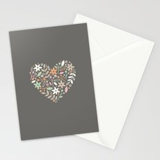 Floral Heart - in Charcoal Stationery Cards