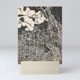 Santa Clara map California Ink lines 2 Mini Art Print