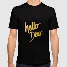 Hello Dear Handwritten Type Black MEDIUM Mens Fitted Tee