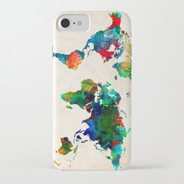 World map watercolor grunge iPhone Case
