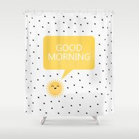 good morning Shower Curtains featuring Good Morning by Elisabeth Fredriksson