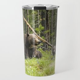 Charting the Course - Grizzly 399 with Her Four Cubs Travel Mug