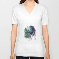 hair V-neck T-shirts featuring Hair by Pixtopia