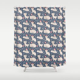 Cute pink brown blue hand painted floral cats Shower Curtain