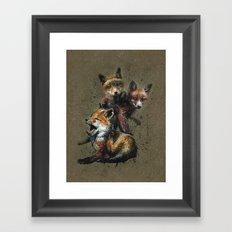 Little fox background Framed Art Print
