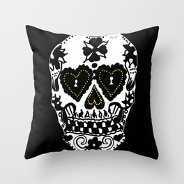Sugar Skull - Black and White Throw Pillow