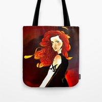the mortal instruments Tote Bags featuring Clary Fray from The Mortal Instruments by Cassandra Clare by Amitra Art