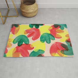Vibrant Acrylic Painting Layered Tulips Floral Pattern Multi Colors Green Red Yellow Large Brush Rug