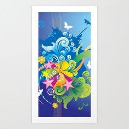 Abstract Flower Blue Art Print