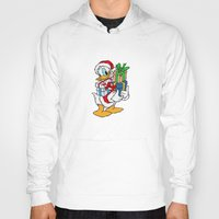 donald duck Hoodies featuring Donald Duck with christmas gifts by Yuliya L