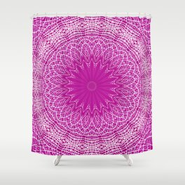 PURPLE AND WHITE LACE MANDALA WEB - VERTICAL Shower Curtain