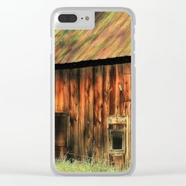 Sunrise on a weathered barn Clear iPhone Case