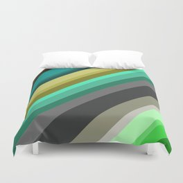 green brown yellow grey stripes Duvet Cover