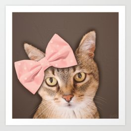 Brown Tabby Cat with Soft Pink Bow Art Print