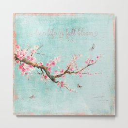 Live life in full bloom - Romantic Spring Cherry Blossom butterfly Watercolor illustration on teal Metal Print
