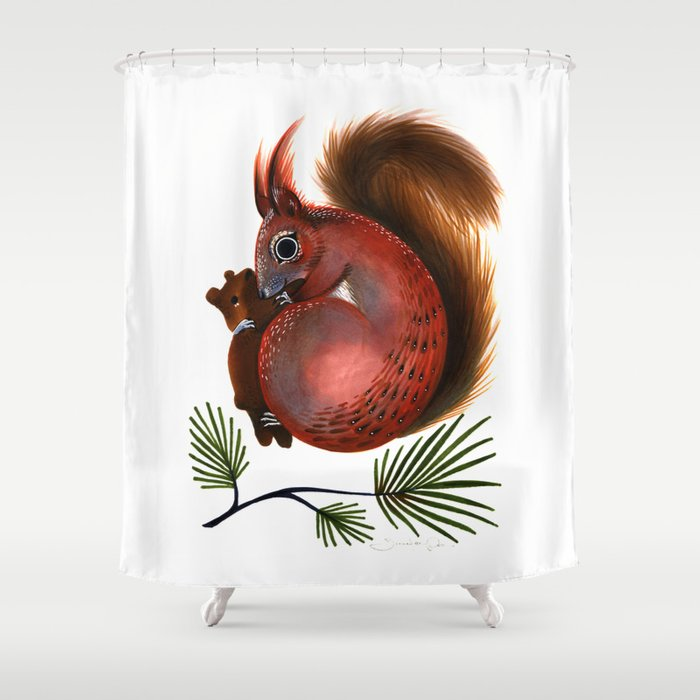 TinTin The Red Squirrel Shower Curtain By Jenniferprior