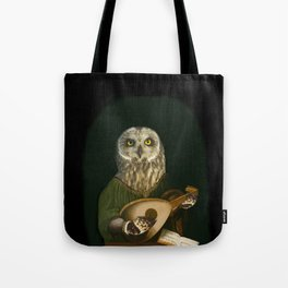 Renaissance Owl Playing His Lute Tote Bag
