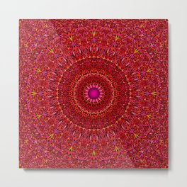 Red Jungle Mandala Metal Print
