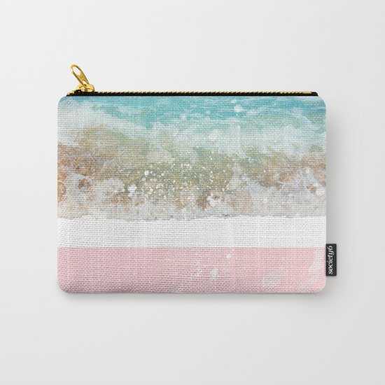 Blue Wave On Pink Carry-All Pouch